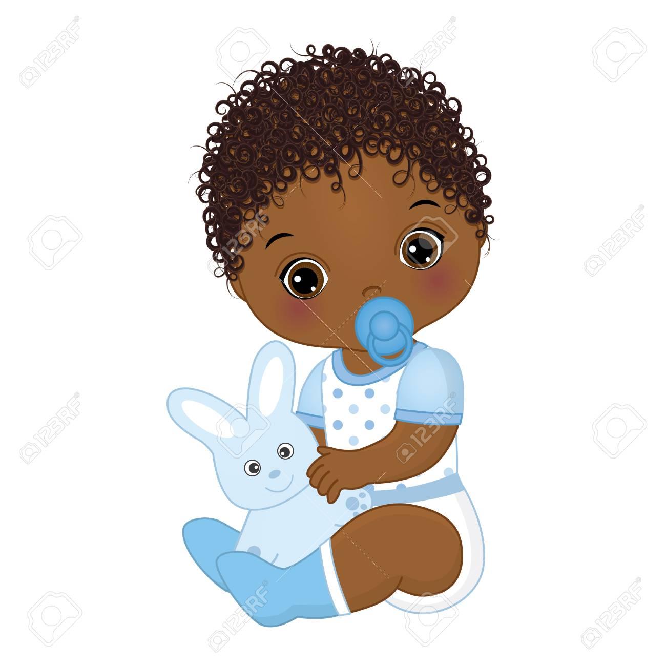 Vector cute African American baby boy with toy bunny. Vector...