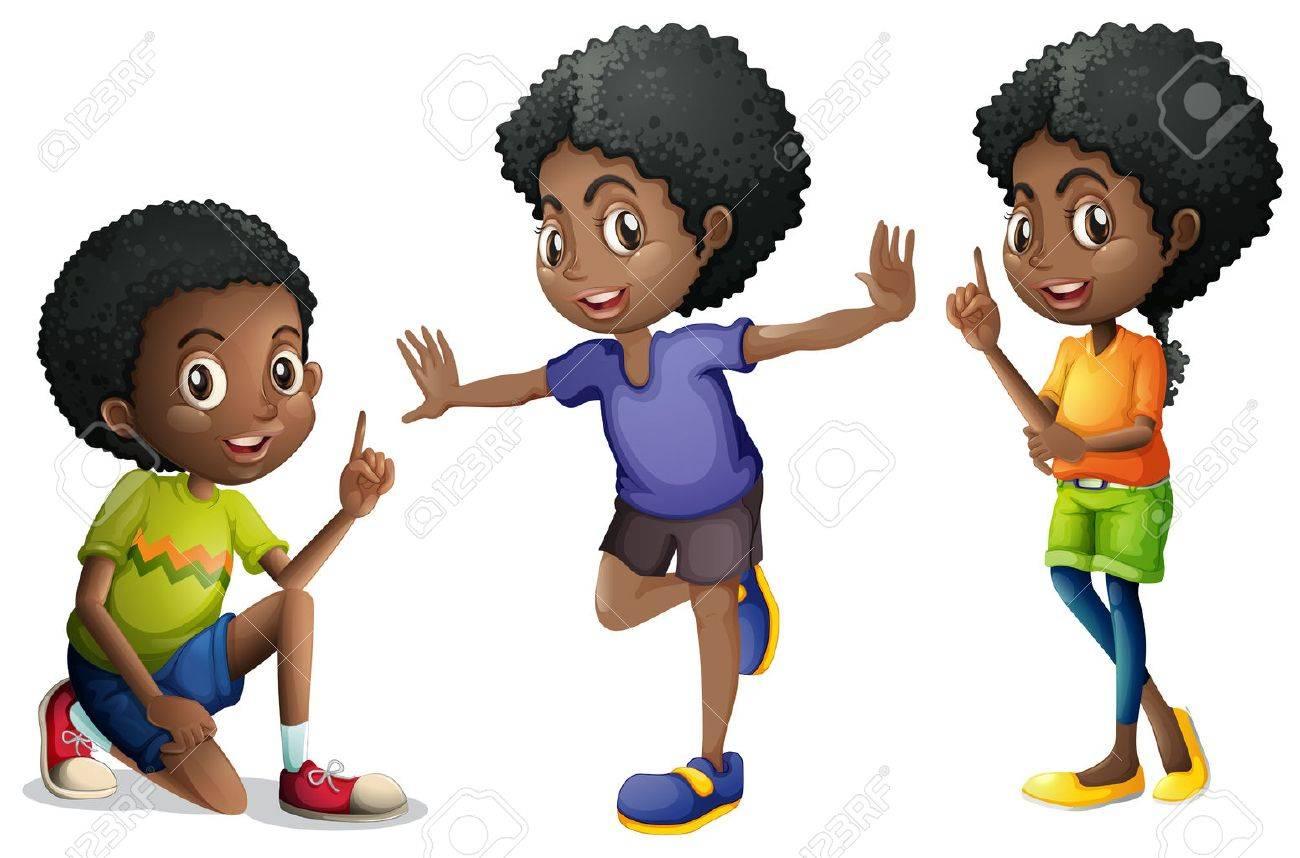 Three african american kids illustration.