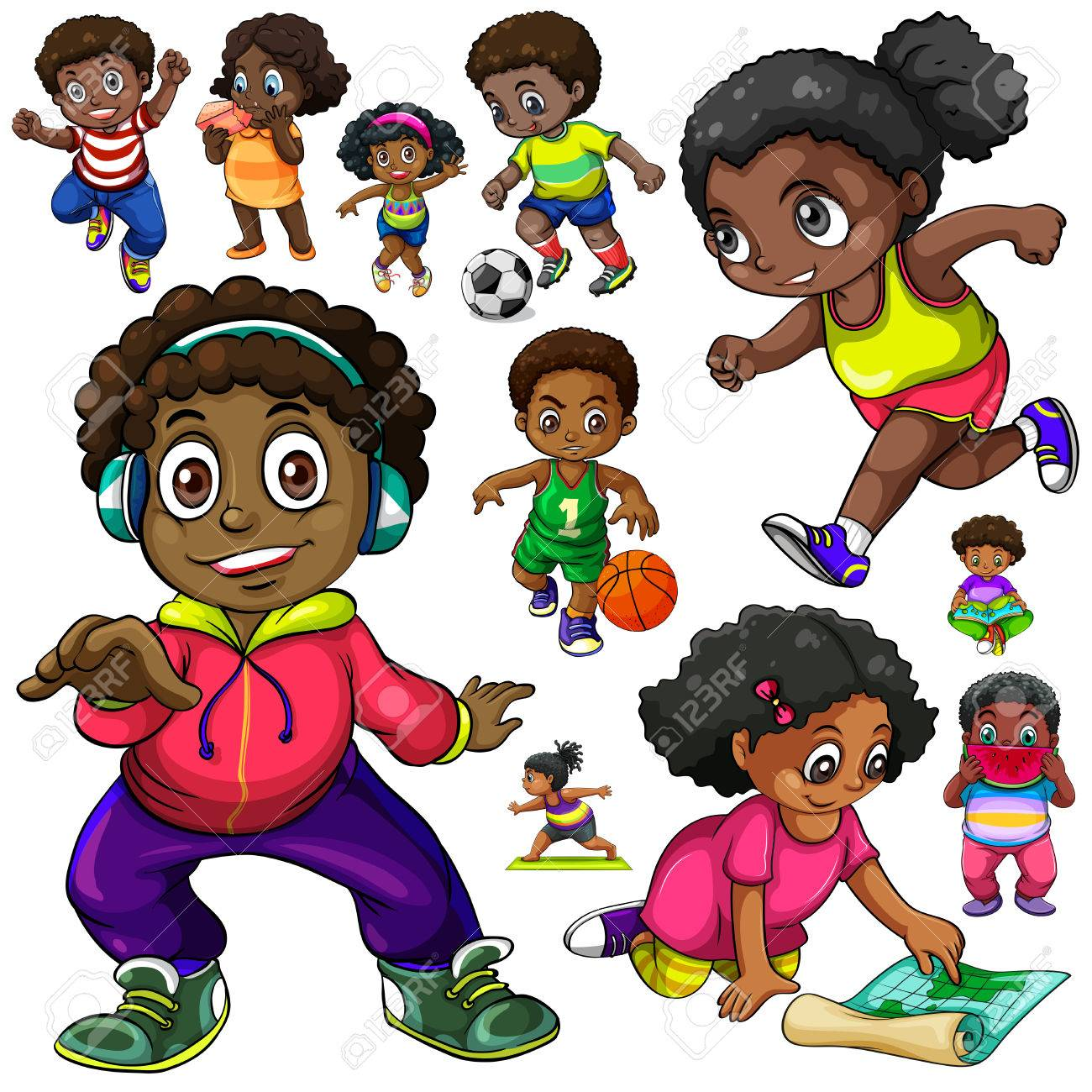 African American kids doing different things illustration.