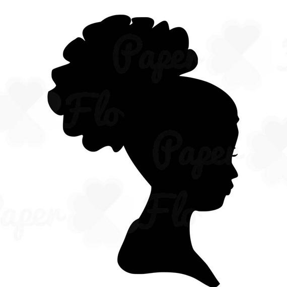 African Woman Silhouette SVG Clip Art Afro Puff Natural Curly Hair DXF  Files Digital Art Cut Files African American Black Girl svg.