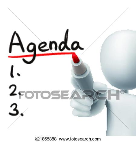 Agenda word written by 3d man Clip Art.