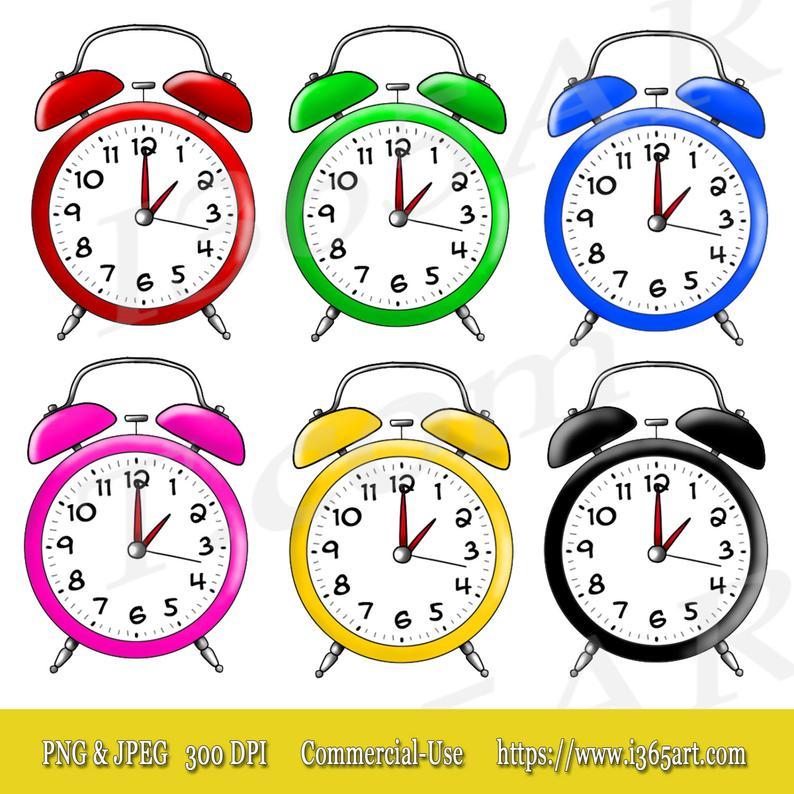 50% OFF Alarm Clock Clipart, Alarm Clock Clip art, Scrapbooking, Party  Invitations, Colorful Variety Digital Clock Illustrations Commercial.