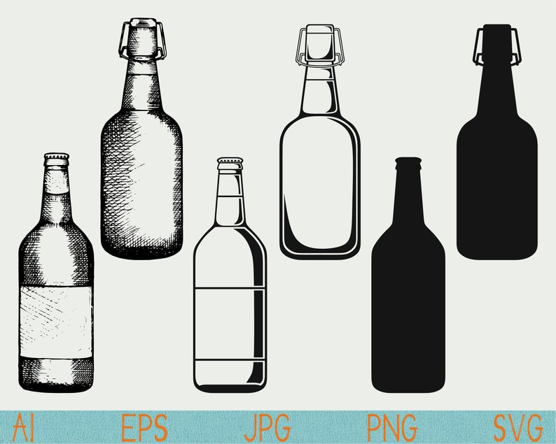Beer bottle SVG/clip art/Alcohol bottle/silhouette/png/cut file/silhouette  cameo/cricut/vector/clipart/stencil/logo/doodle/sketch/hand drawn.