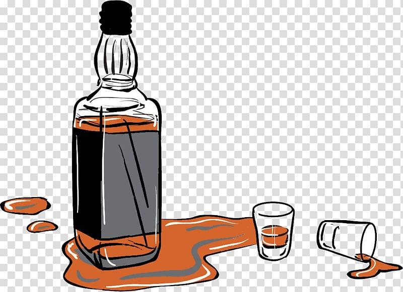 Liquor bottle illustration, Whiskey Distilled beverage Beer Scotch.