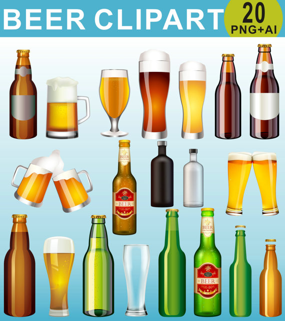 Beer Clipart, Drinks Clipart, Beer Bottle Clip Art, Alcohol Clipart.