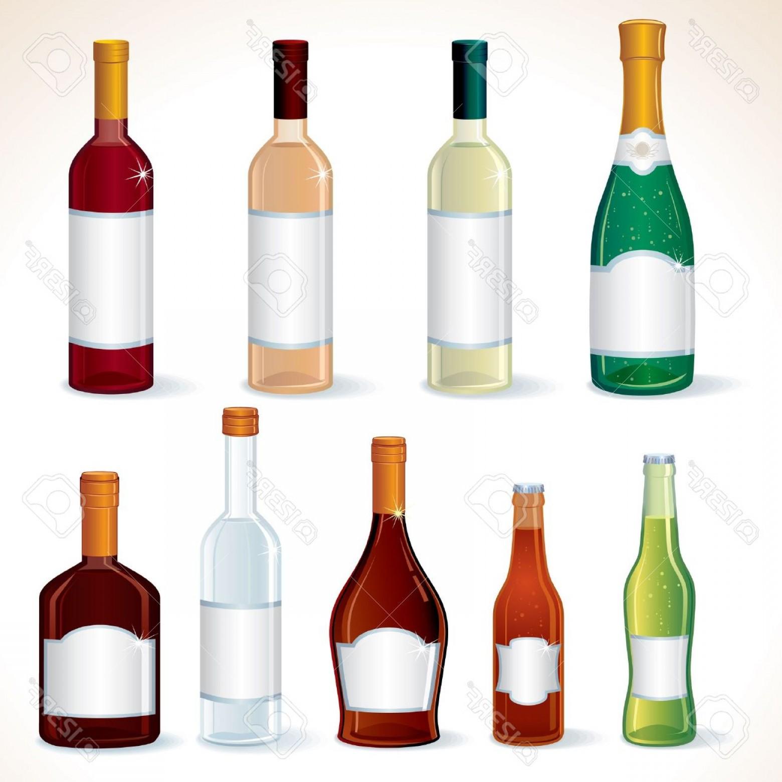 Photoglass Bottles With Various Alcoholic Drinks Vector Clip Art.