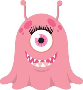 Monster Clipart Image: Happy female monster or alien with a cyclops.