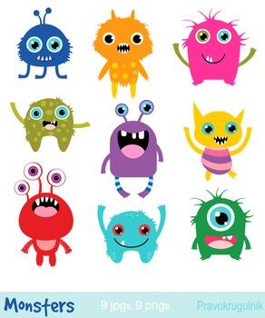 Little monsters clip art, Cute rainbow monsters clipart, Alien clipart.