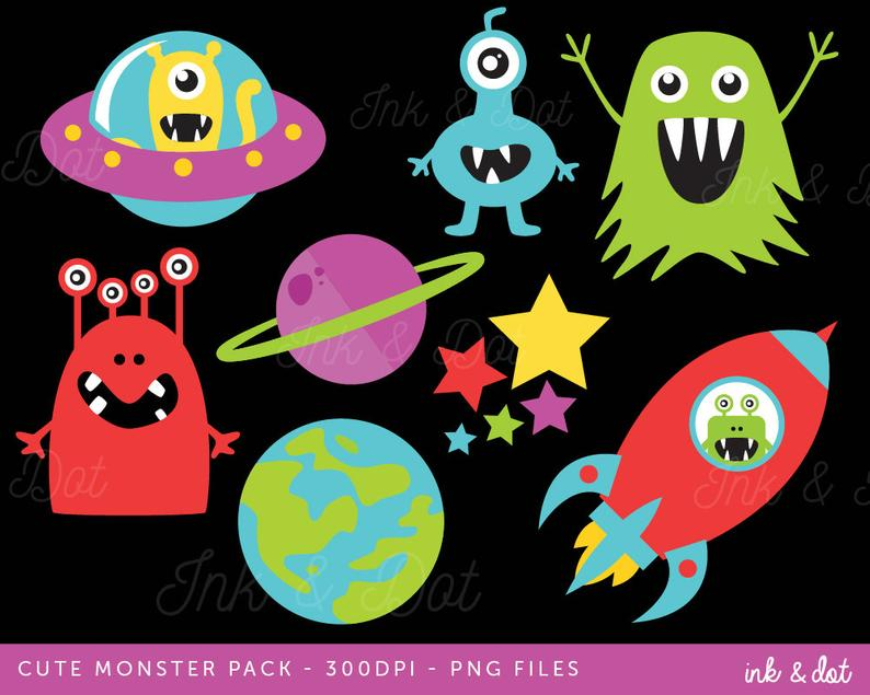 Outer Space Clip art, Aliens clipart, Spaceship, Planets, Stars, Galaxy,  Boys Birthday, Earth.