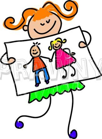 Happy Cartoon My Parents Picture Girl Toddler Art Prawny Clip Art.