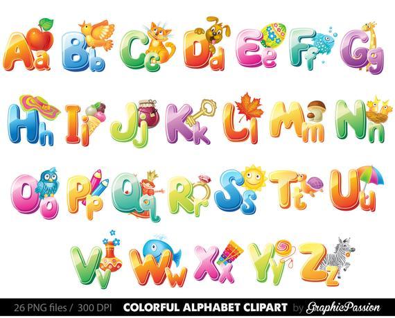 Illustrated Alphabet clipart color alphabet Digital alphabet letters  clipart Digital letters Clip art alphabet Clip art letters clipart.