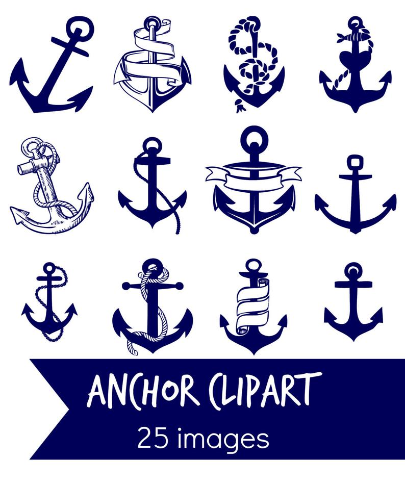 ANCHOR clip art, navy blue anchor digital clip art, nautical coastal blue  clip art Instant download.