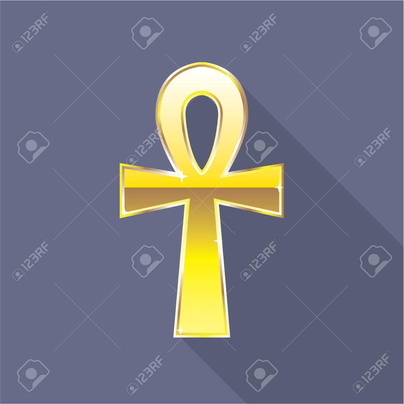 Egyptian Cross key of Nile Ankh Gold vector illustration clip.