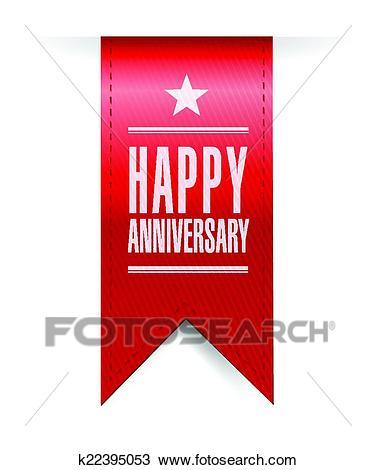 Happy anniversary banner illustration design Clipart.