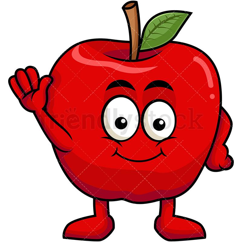 Cute Apple Mascot Waving.