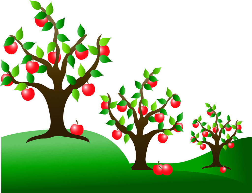 Clip Art Illustration of Apple Trees in an Orchard.