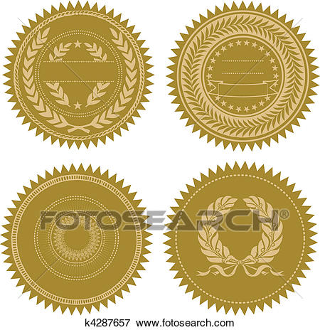 Vector Award Seal Set Clip Art.