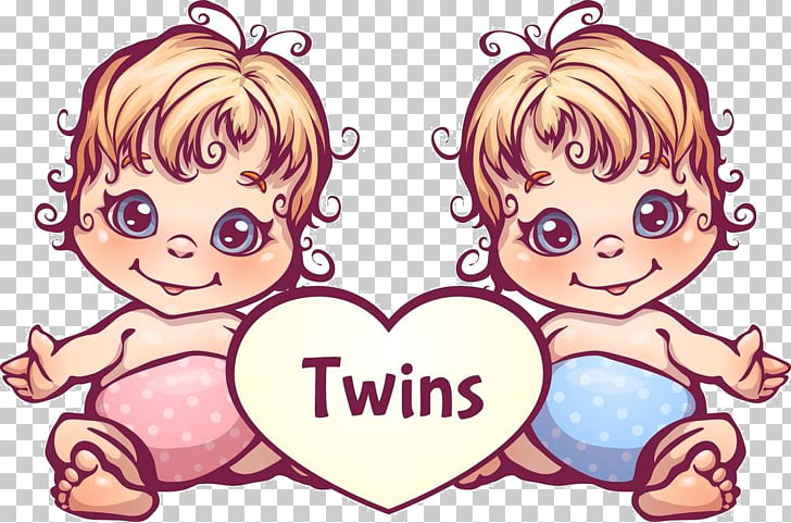 Twin Cartoon Stock photography, Cartoon twins material, baby twins.