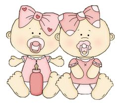 Clipart Baby, Twin Girls,.