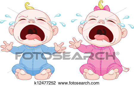 Crying baby twins Clipart.