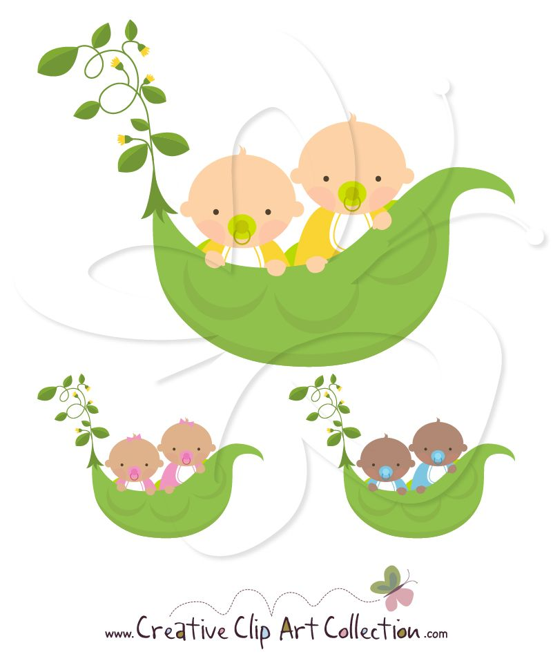 An adorable #Sweet #Pea #Twins #clipart set from Creative Clip Art.