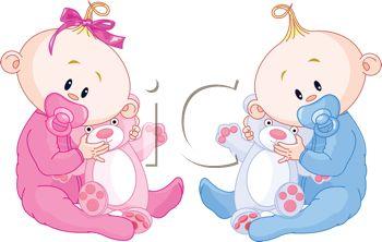 Boy and Girl Twin Babies with Teddy Bears.