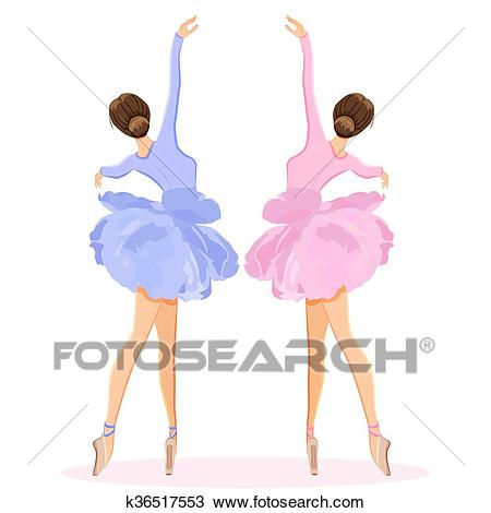 Ballerina dancing on pointe in flower tutu skirt vector set Clipart.