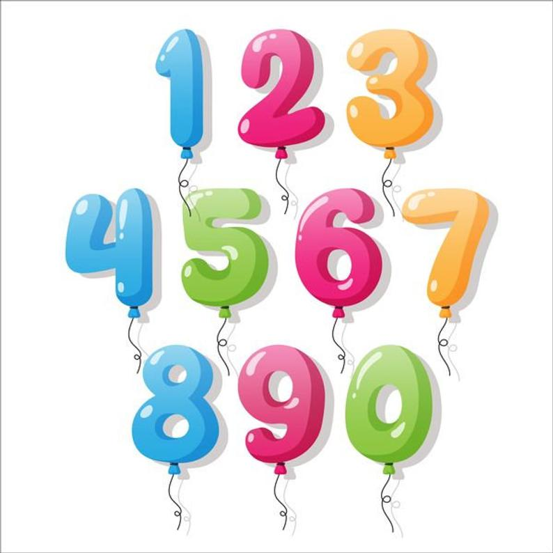 SALE 30% colors birthday numbers, clipart, balloons numbers, PNG JPG.