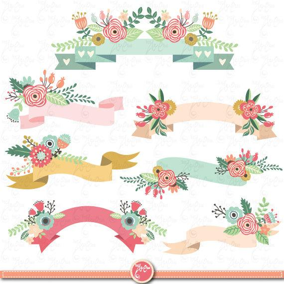 Floral Banners clipart pack