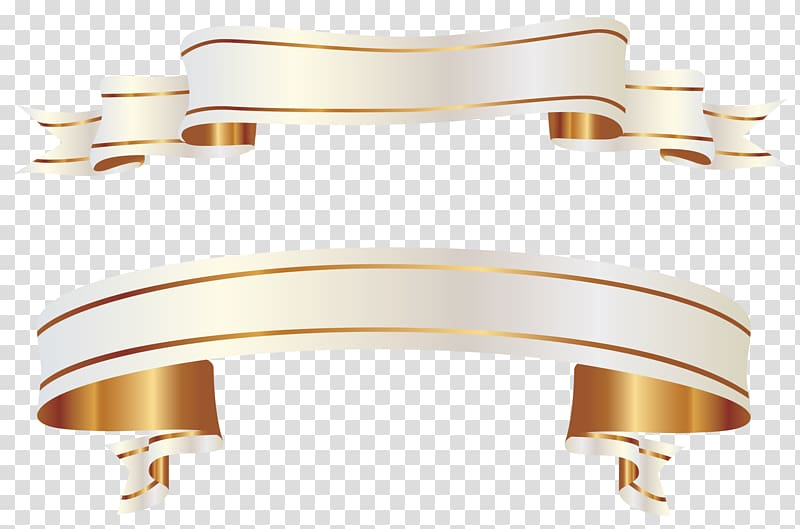White Banners , gold ribbon scroll transparent background PNG.