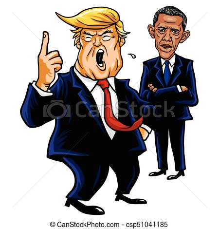 Donald Trump and Barack Obama. Cartoon Caricature Vector Illustration  Drawing. September 28, 2017.