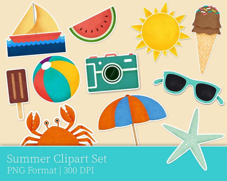 Summer Beach Print Clip Art, Beach Illustration, Beach Scene, Sea Pictures,  Beach Scenery, Clip Art Summer, Summer Beach, Beach Cartoon.