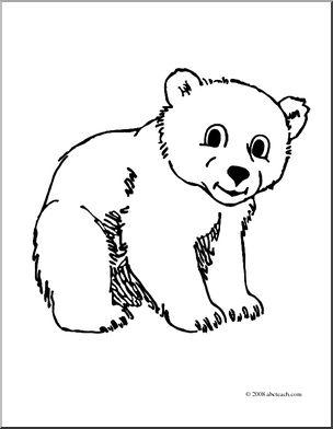 Clip Art: Cartoon Polar Bear Cub (coloring page) I abcteach.com.