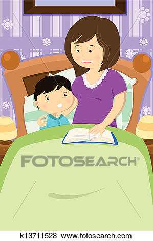Mother reading a bedtime story Clip Art.