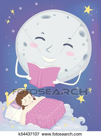 Kid Girl Sleep Moon Mascot Bedtime Story Illustration Clip Art.
