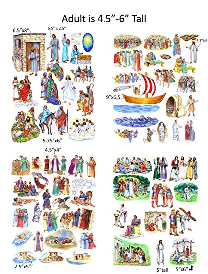 Story & Life of Jesus 13 Bible Stories Felt Figures for Flannel Board.