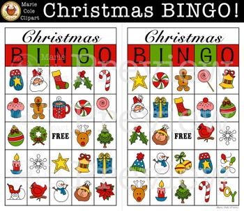 Christmas BINGO! Printable Game [Marie Cole Clipart] by Marie Cole.