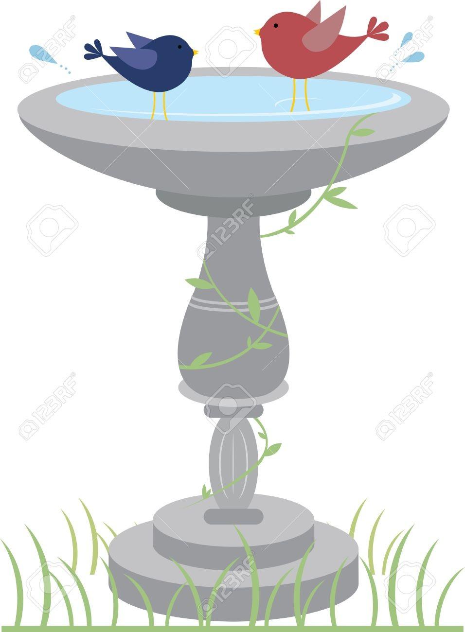 At Bird Bath Clipart 41241331 Happy Birds Splashing In A Garden.
