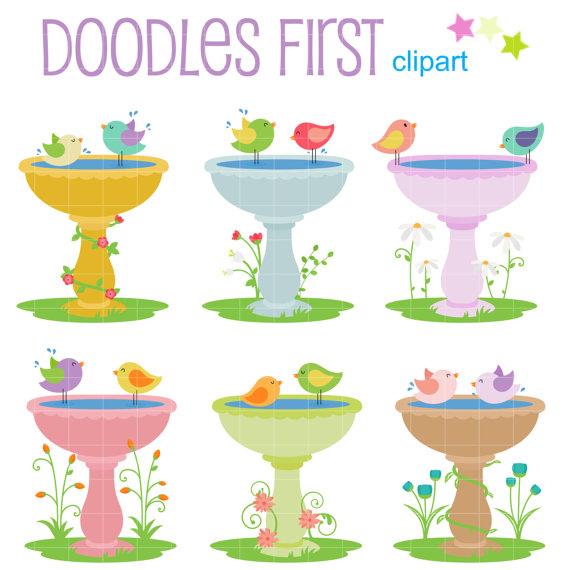 Sweet Bird Baths Digital Clip Art for Scrapbooking Card Making.