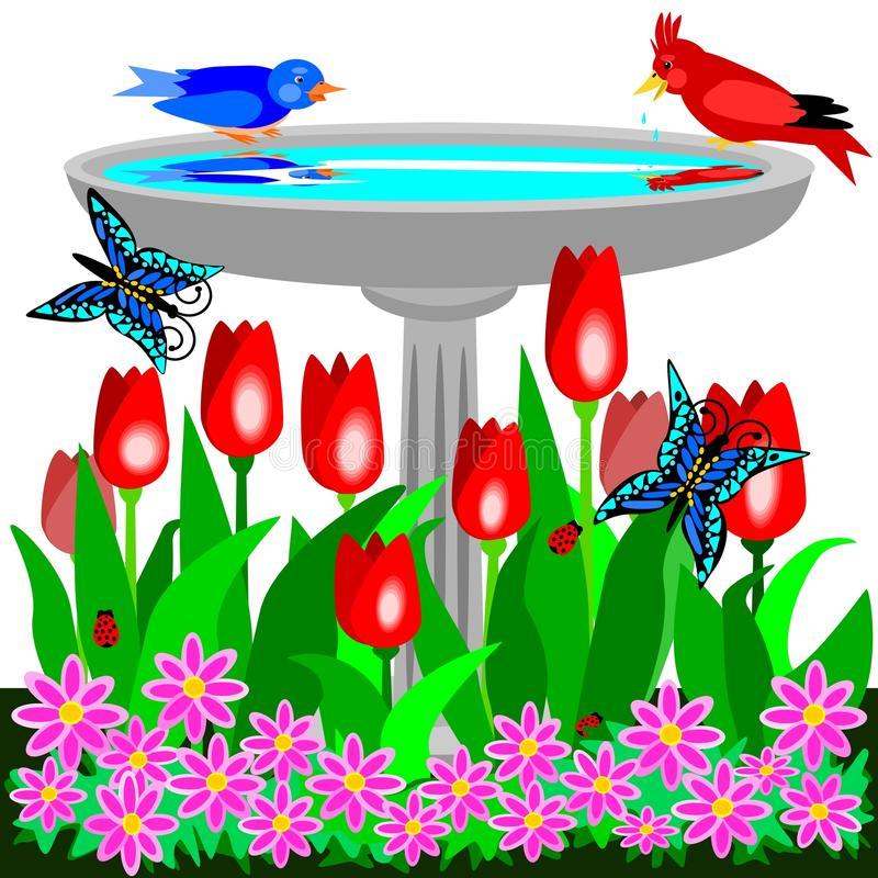 Birdbath Stock Illustrations.
