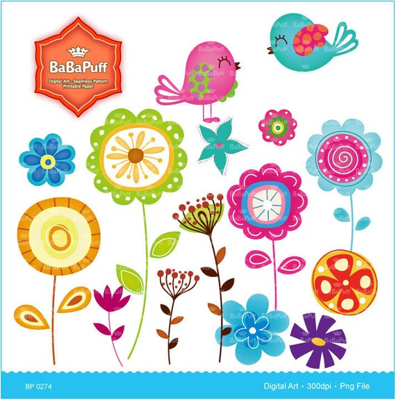 Instant Downloads, Flowers and Birds Clip Art. Spring Flower.