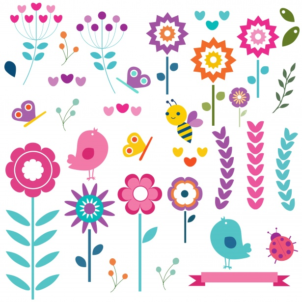 Birds Flowers Nature Clipart Free Stock Photo.