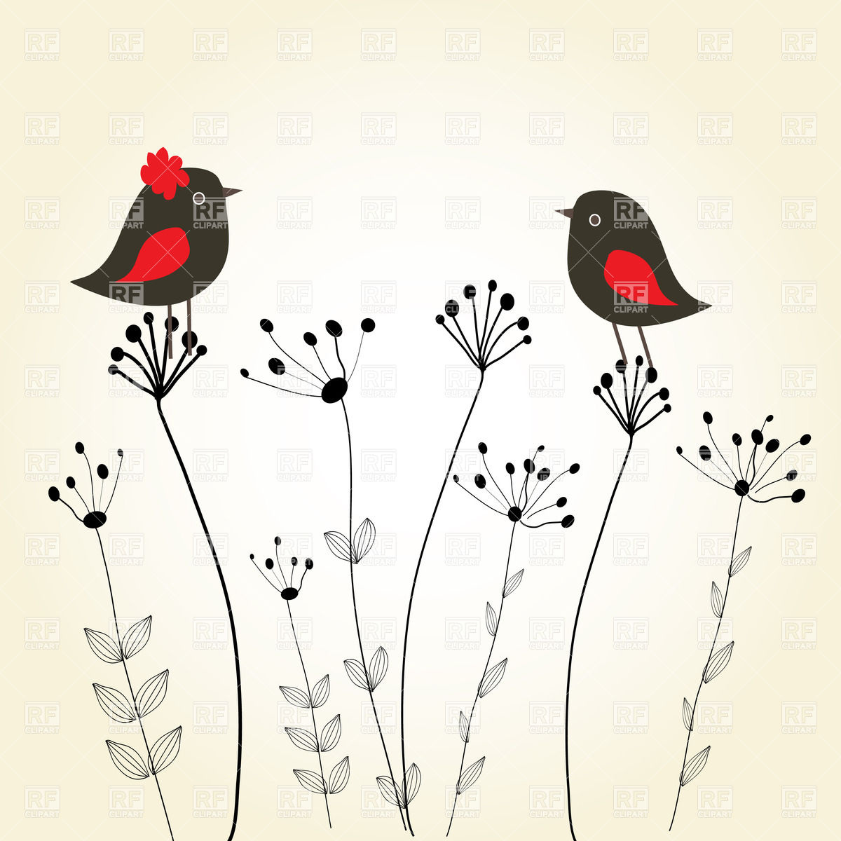 Cute greeting card with birds on stylish flowers Stock Vector Image.