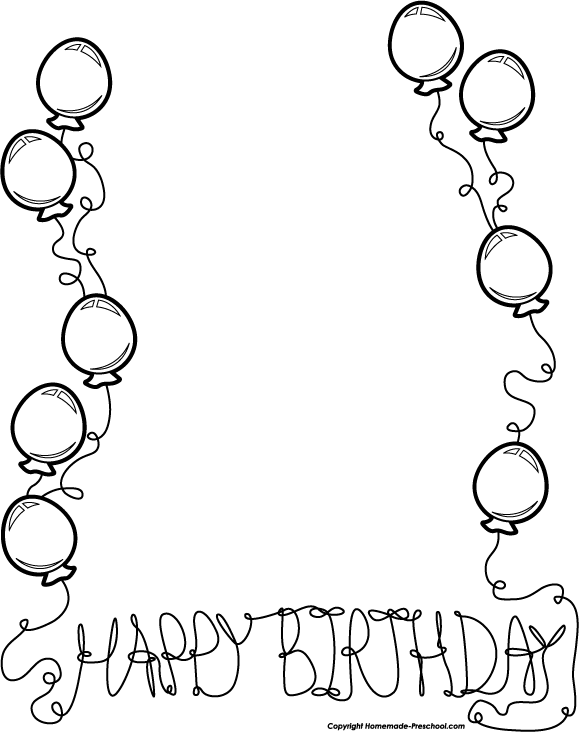 Birthday black and white black and white birthday clip art borders.