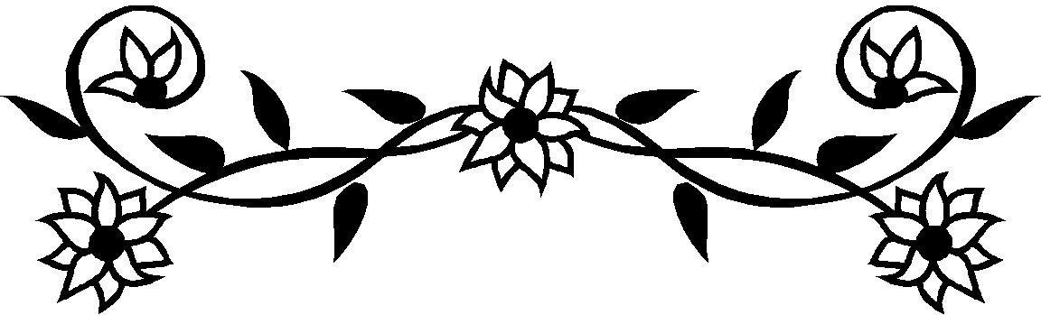 Black And White Flower Border Clipart.
