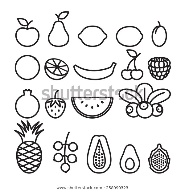 Black White Fruits Berries Line Art Stock Vector (Royalty Free.