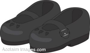 Clipart Illustration of a Pair of Child's Black Dress Shoes.