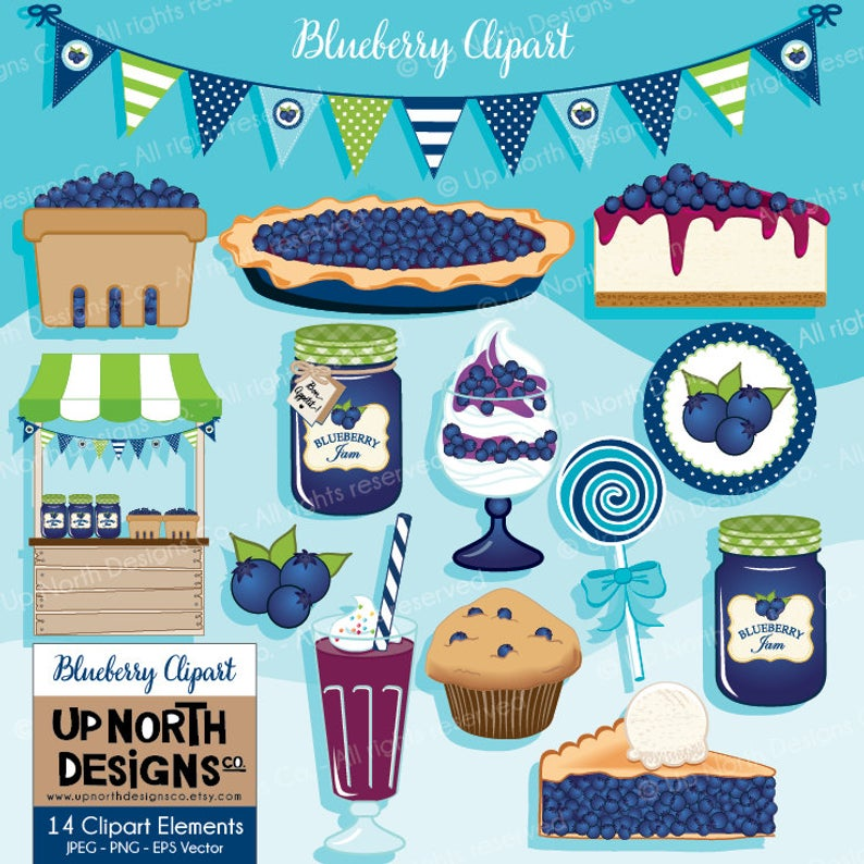 Blueberry Clipart Blueberry pie clipart Blueberry cheesecake Blueberry  muffin Clipart Blueberry Jam Smoothie Personal and Commercial Use.