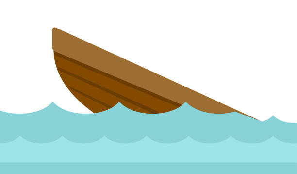 Sinking Row Boat Illustrations, Royalty.