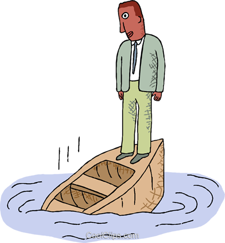 man on a sinking boat Royalty Free Vector Clip Art illustration.